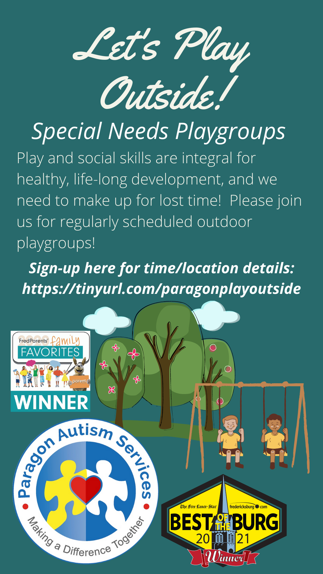 Outdoor Playgroup Ages 13 and Under @ Sign up for time/location details (subject to change)